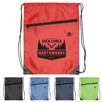 Drawstring Backpack - Drawstring Sports Bag with Front Zipper