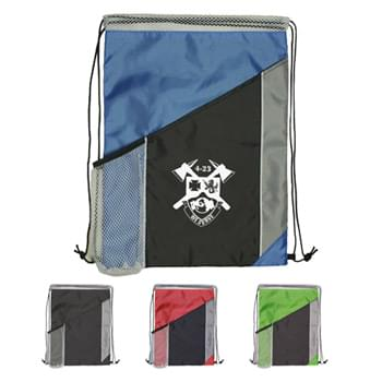 Drawstring Backpack - Tri Color Polyester Drawstring Bag w/Mesh Pocket