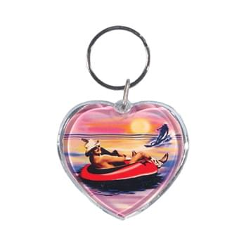 "Full Color Heart Shape Acrylic Keytag (1 3/4"")"