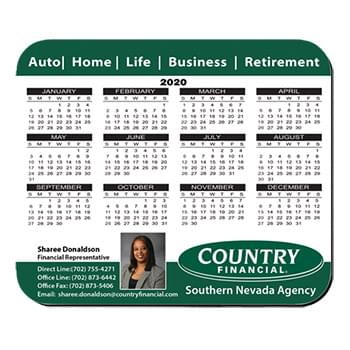 "8""X9.5"" Hard Top Custom Calendar Rectangle Mouse Pad 1/16"" Rubber Base"