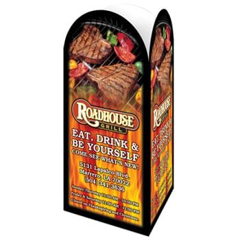 "3 Panel Advertising Table Tent with a Round Top Custom Printed (8 1/2""x4"")"