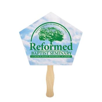 Church Shape Full Color Digital Single Sided Paper Hand Fan