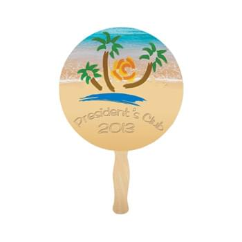 Round Lightweight Full Color Digital Single Sided Paper Hand Fan