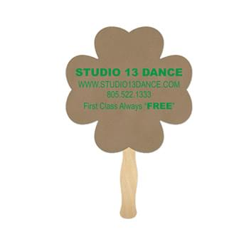 4-Leaf Shamrock Clover Recycled Paper Hand Fan Sandwich