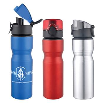 Sports Bottle - 28 Oz Aluminum Sports Bottle With a Safety Latch Pop-Up Lid
