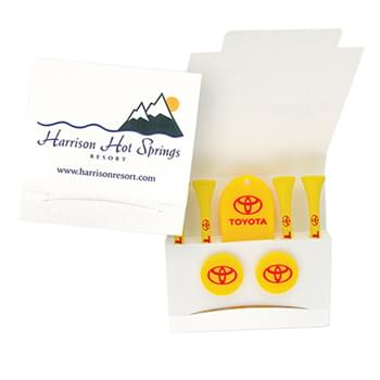 Custom Printed Matchbook Packet w/ 4 Tees, Divot Tool & 2 Ball Markers
