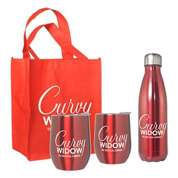 Goblet and Bottle Set with Non-Woven Mini Gift Tote Bag