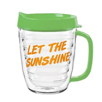 Clear Coffee Mug with color top 12 Oz