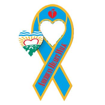"3.5"" X 8"" Awareness Ribbon Shape Vehicle Magnet - Heart Cutout"