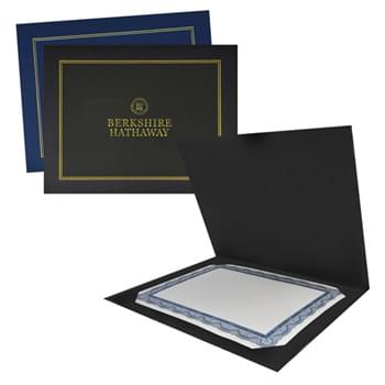 "12 3/4"" X 10"" Two-Fold Certificate Presentation Folder Custom Printed"